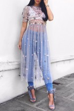 Lace & Beads Baby Mint Sheer Dress