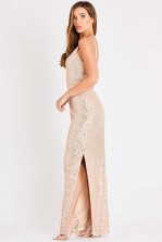 Skirt & Stiletto Valentina Rose Gold Sequin Maxi Dress