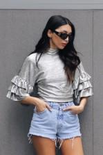 TFNC Lyley Silver Crop Top
