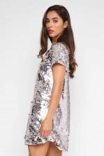 TFNC Tana Sequin Silver Tunic Dress