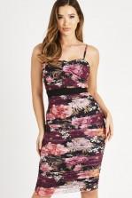 Skirt & Stiletto Selena Print Mesh Bodycon Midi Dress