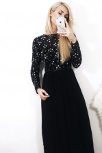 Lace & Beads Carnation Dark Grey Maxi Dress