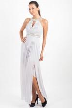 TFNC Bibione Grey Embellished Halter Maxi Dress