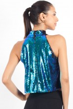 TFNC Mindy Green Sequin High Neck Crop Top