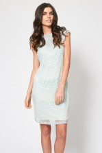 Lace & Beads Mint Teardrop Embellished Dress