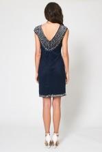 Lace & Beads Teardrop Navy Embellished Dress
