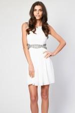 TFNC Malaga White Embellished Cut Out Dress