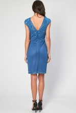 Lace & Beads Blue Teardrop Embellished Dress