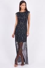 Lace & Beads Mexico Navy Maxi Dress