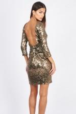 TFNC Francis Gold Sequin Dress