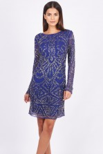 Lace & Beads Brooklyn Blue Embellished Dress
