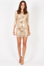 TFNC Paris Gold Boho Sequin Dress