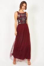 Lace & Beads Hannah Wine Maxi Dress