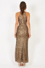 TFNC Cahya Gold Sequin Maxi Dress