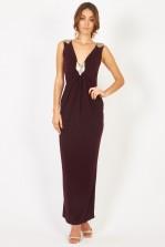 TFNC Barbara Wine Maxi Dress