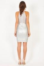 TFNC Livia Sliver Sequin Dress
