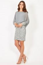 Lace & Beads Rosyka Grey Embellished Dress