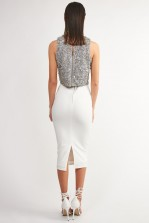 Lace & Beads Picasso Grey Sequin Top