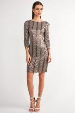 TFNC Brenna Bodycon Grey Sequin Dress