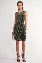 Lace & Beads Taylor Fringe Black Embellished Dress
