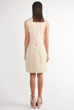 Lace & Beads Taylor Fringe Beige Embellished Dress