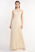 Lace & Beads Belle Nude Maxi Dress