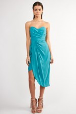 TFNC Dolly Aqua Bandeau Dress