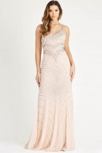Lace & Beads Monet Nude Maxi Dress