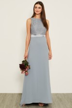TFNC Halannah Lace Sleeveless Blue Grey Maxi Dress