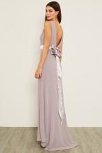 TFNC Halannah Lavender Fog Grey Maxi Dress