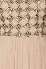 Lace & Beads Onyx Skater Nude Dress