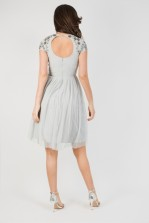 Lace & Beads Narnia Grey Mini Dress