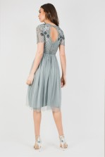 Lace & Beads Dark Grey Midi Dress