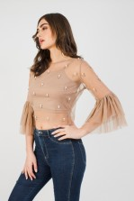Lace & Beads Brit Taupe Top