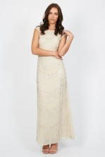 Lace & Beads Teardrop Nude Maxi Dress