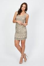 Lace & Beads Ash Beige Embellished Dress