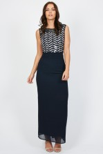 Lace & Beads Flair Navy Maxi Dress
