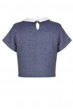 TFNC Hayley Collar Crop Top
