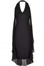 TFNC Daisy Black Drape Midi Dress