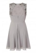 Lace & Beads Wanda Skater Grey Embellished Dress