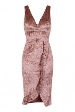 WalG Crushed Velvet Pink Midi Dress With Front Frill