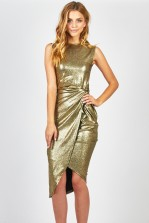 WalG Knot Tie Metallic Dress