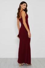 WalG Ruched V Neck Maxi Dress