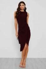 WalG Knot Tie Burgundy Dress