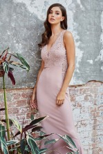 WalG Poppy V Neck Pale Mauve Maxi Dress