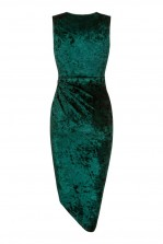WalG Crushed Velvet Knot Tie Green Dress