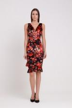 WalG Crushed Velvet Deep V Floral Midi Dress
