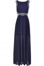 TFNC Malaga Navy Maxi Embellished Cut Out Dress