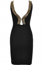 TFNC Riccocone Black & Gold Bodycon Dress