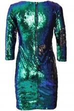 TFNC Paris Green Oil Slick Two-Tone Sequin Dress
